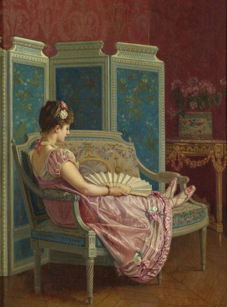 Wall Art - Painting - Idle Thoughts by Auguste Toulmouche
