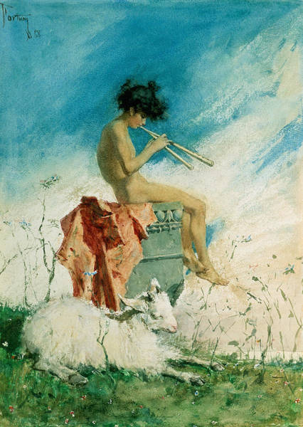 Mythology Painting - Idyll by Mariano Fortuny y Marsal