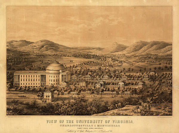 Wall Art - Painting - View Of The University Of Virginia, Charlottesville And Monticello, Taken From Lewis Mountain by Sachse