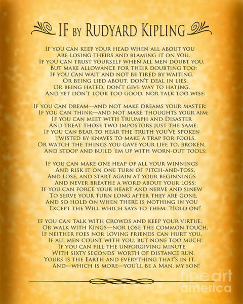 Wall Art - Digital Art - If By Rudyard Kipling - Gold Design by Ginny Gaura