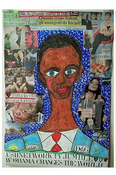 Wall Art - Mixed Media - If Obama Changes The World by Francesco Martin