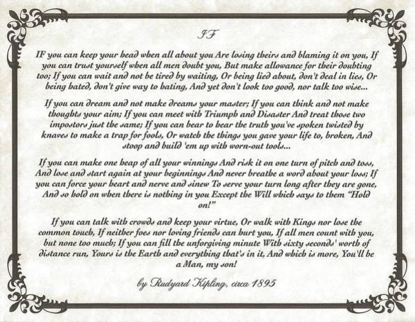 Poems Wall Art - Mixed Media - If Poem By Rudyard Kipling by Desiderata Gallery