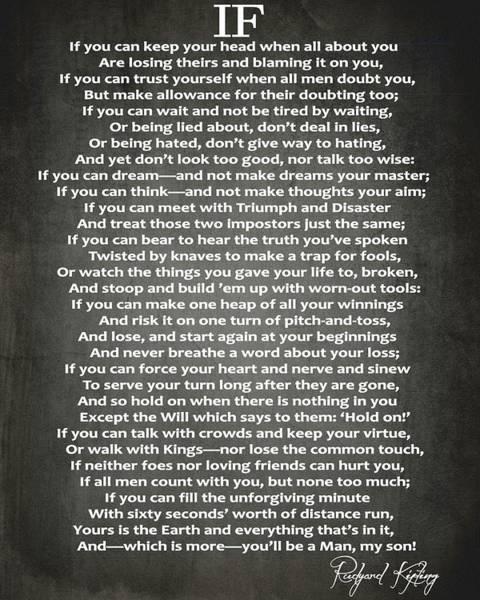 Wall Art - Digital Art - If Poem By Rudyard Kipling by Dan Sproul
