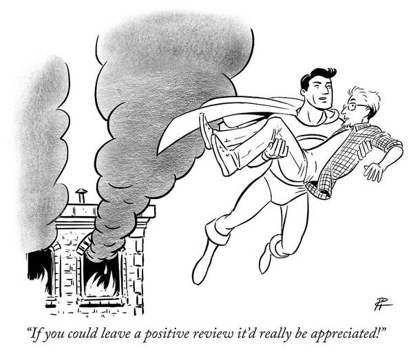 Superhero Drawing - If You Could Leave A Positive Review by Pia Guerra