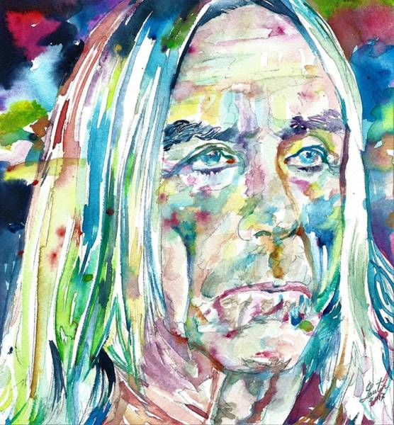 Iggy Pop Wall Art - Painting - Iggy Pop - Watercolor Portrait by Fabrizio Cassetta
