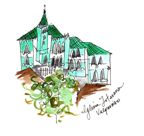 Painting - Iglesia Luterana Valparaiso by Anna Elkins