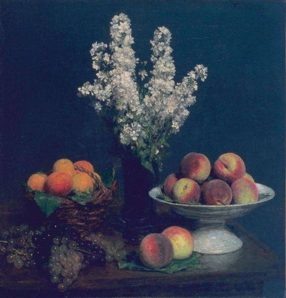 Wall Art - Painting - Ignace Henri Jean Theodore Fantin Latour   White Rockets And Fruit by Ignace Henri Jean