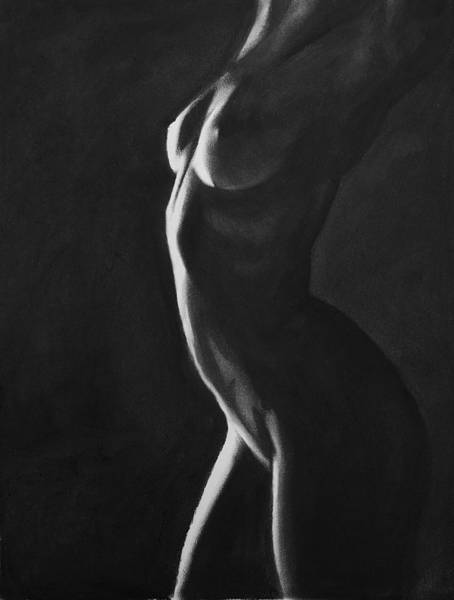 Breast Drawing - Ignite - Charcoal by Blue Muse Fine Art