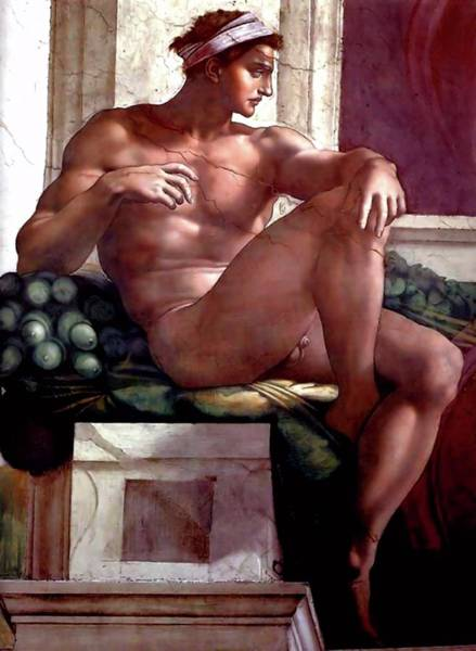 Painting - Ignudo Number Six Of 1511   by Michelangelo Buonarroti
