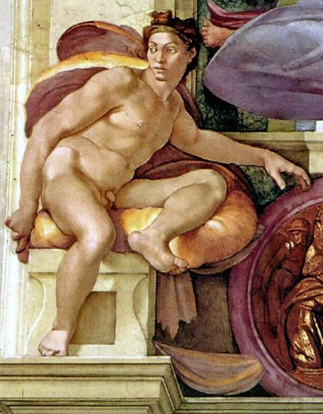 Painting - Ignudo Number Three Of 1510 by Michelangelo Buonarroti