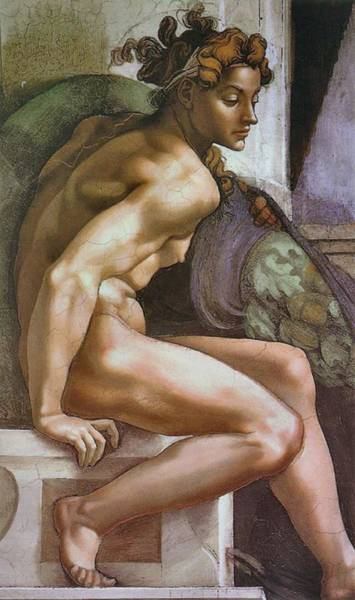 Painting - Ignudo Number Two Of 1509 by Michelangelo Buonarroti