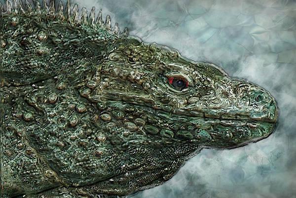 Green Iguana Wall Art - Painting - Iguana 2 by Jack Zulli