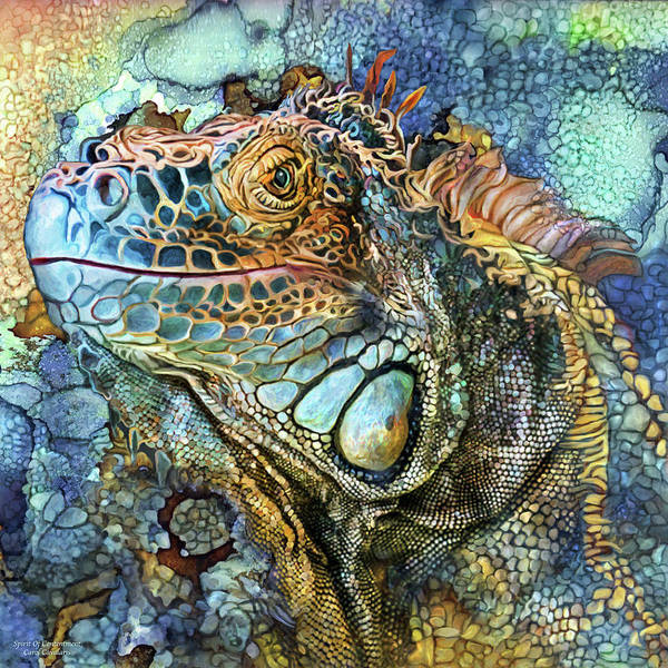 Mixed Media - Iguana - Spirit Of Contentment by Carol Cavalaris