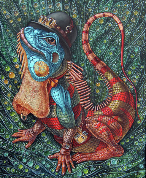 Painting - Iguana by Victor Molev