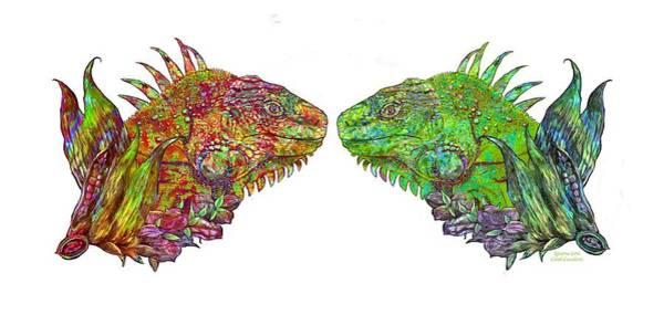 Mixed Media - Iguana Love by Carol Cavalaris