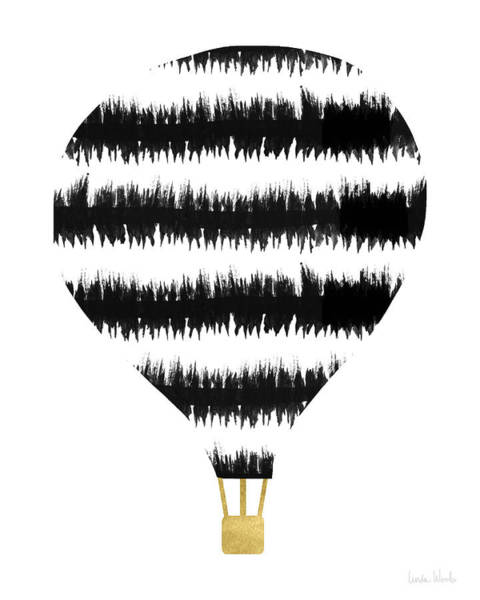 Digital Art - Ikat Stripe Hot Air Balloon- Art By Linda Woods by Linda Woods
