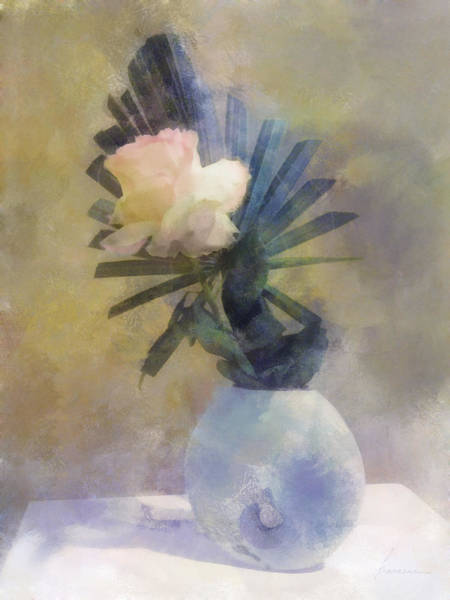 Palm Frond Digital Art - Ikebana Rose by Francesa Miller