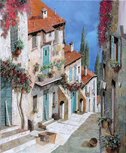 Street Scenes Wall Art - Painting - Il Balcone Fiorito by Guido Borelli