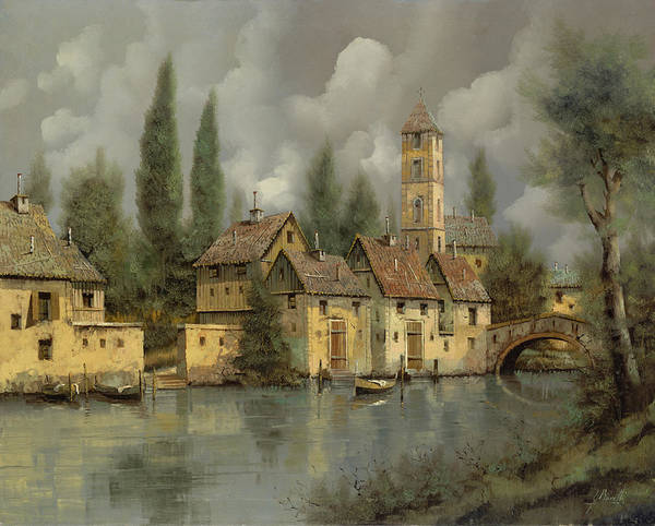 Romantic Wall Art - Painting - Il Borgo Sul Fiume by Guido Borelli