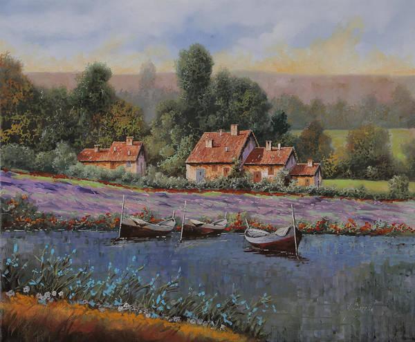 Lavender Field Wall Art - Painting - Il Borgo Tra Le Lavande by Guido Borelli