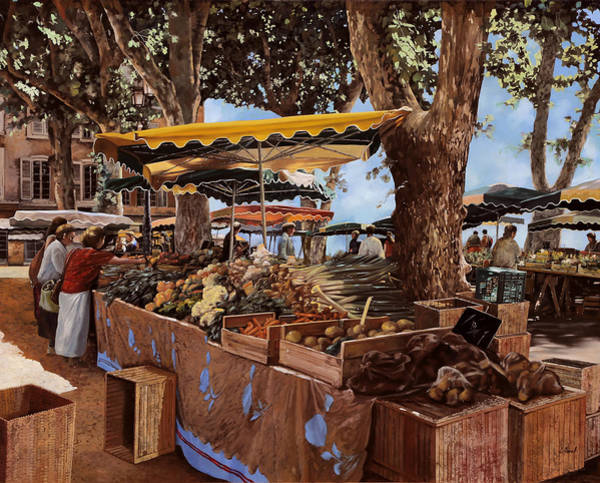 Market Wall Art - Painting - il mercato di St Paul by Guido Borelli