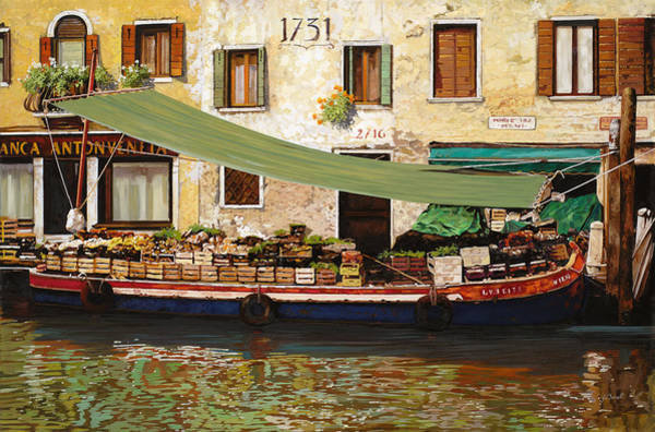 Floating Wall Art - Painting - il mercato galleggiante a Venezia by Guido Borelli