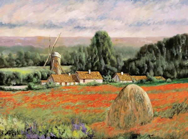 Poppy Field Painting - Il Mulino Nel Bosco by Guido Borelli