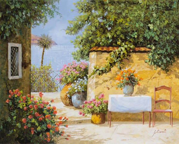 Table Wall Art - Painting - Il Muretto E Il Mare by Guido Borelli