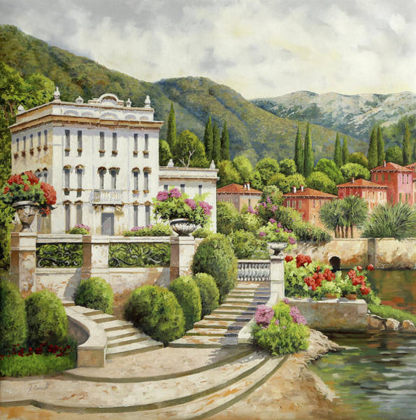 Stairs Painting - Il Palazzo Sul Lago by Guido Borelli