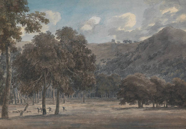 Painting - Il Parco Degli Astroni - The Wooded Crater Bottom With Hunt In Progress by John Robert Cozens