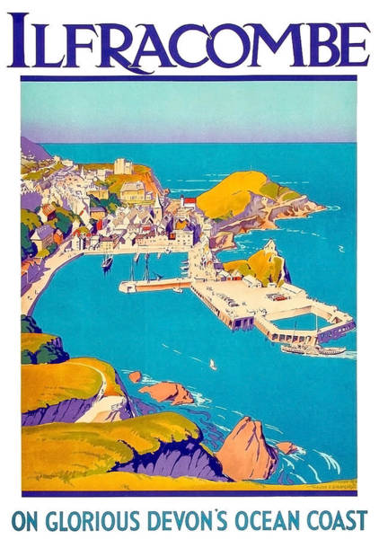 Devon Painting - Ilfracombe Beach, Devon Ocean Coast by Long Shot