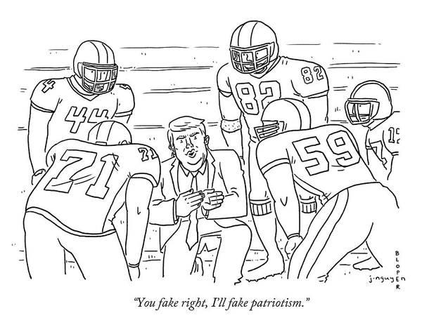 Jeremy Nguyen Drawing - I'll Fake Patriotism by Jeremy Nguyen