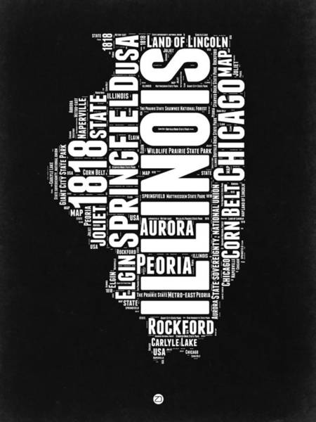 Springfield Illinois Wall Art - Digital Art - Illinois Black And White Word Cloud Map  by Naxart Studio