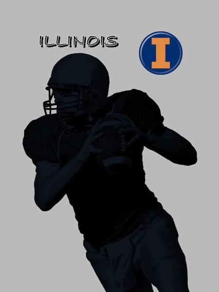 Digital Art - Illinois Football by David Dehner