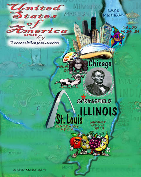 Digital Art - Illinois Fun Map by Kevin Middleton