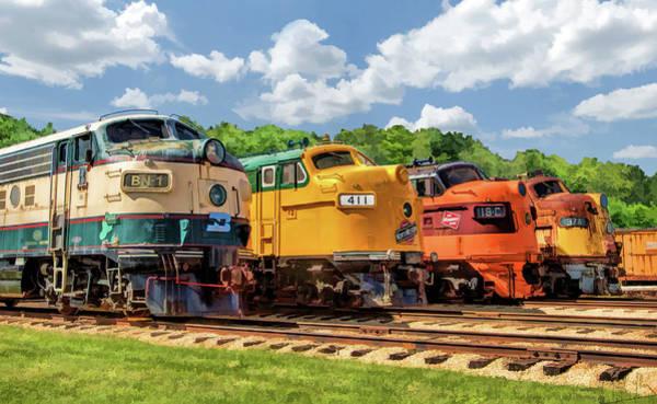 Diesel Trains Painting - Illinois Railway Museum Diesel Locomotives by Christopher Arndt