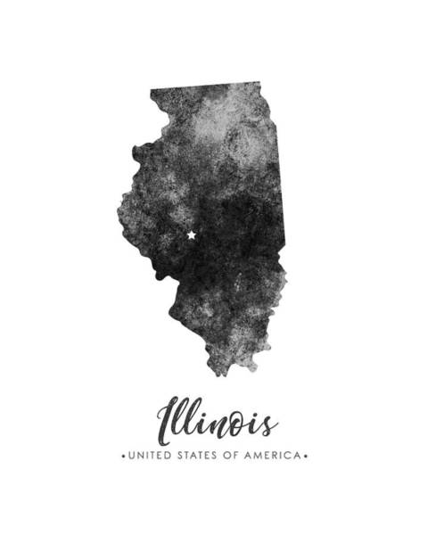 Map Of United States Mixed Media - Illinois State Map Art - Grunge Silhouette by Studio Grafiikka