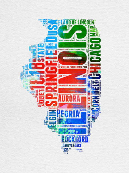 Wall Art - Digital Art - Illinois Watercolor Word Cloud Map  by Naxart Studio