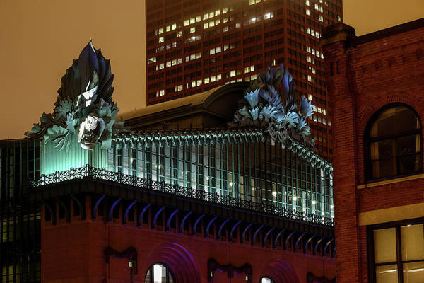 Photograph - Illuminated Acroteria Owls Of Chicago Public Library by John McArthur