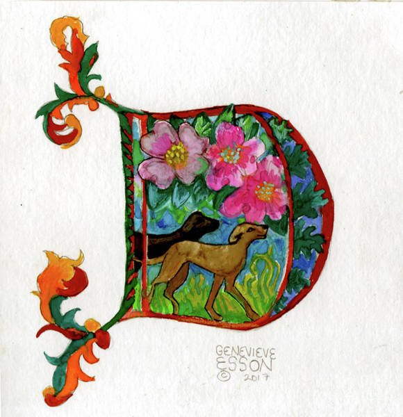 Wall Art - Painting - Illuminated Letter D by Genevieve Esson
