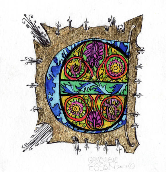 Teal Mixed Media - Illuminated Letter E by Genevieve Esson