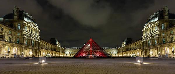Illuminated Louvre Museum, Paris Art Print