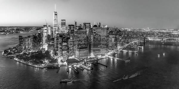 Photograph - Illuminated Lower Manhattan Nyc Bw by Susan Candelario
