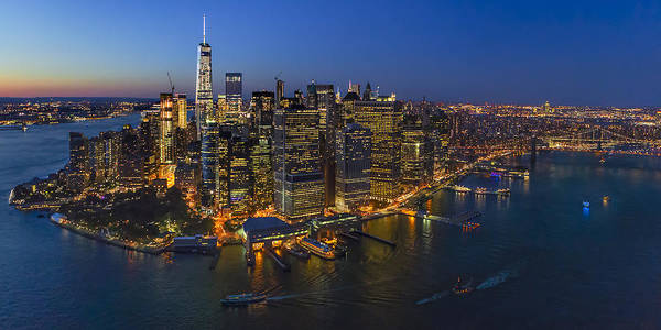 Photograph - Illuminated Lower Manhattan Nyc by Susan Candelario