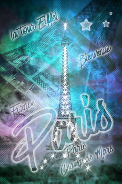 La Tour Eiffel Photograph - Illuminated Pop Art Eiffel Tower Graphic Style by Melanie Viola