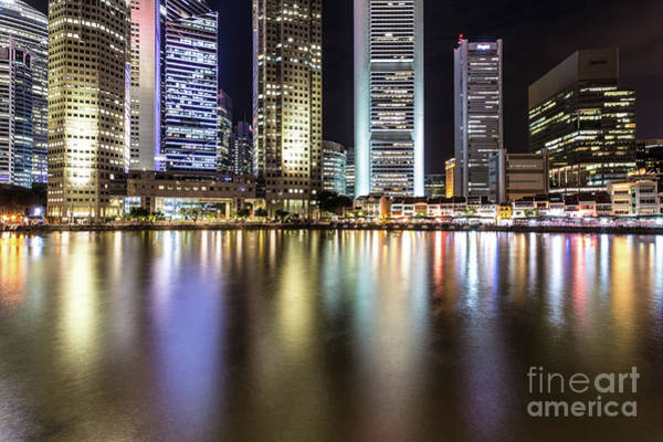 Photograph - Illuminated Skyscrapers In Singapore by Didier Marti