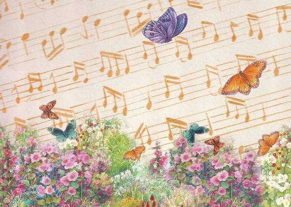 Painting - Illustrated Butterfly Garden With Musical Notes by Judith Cheng
