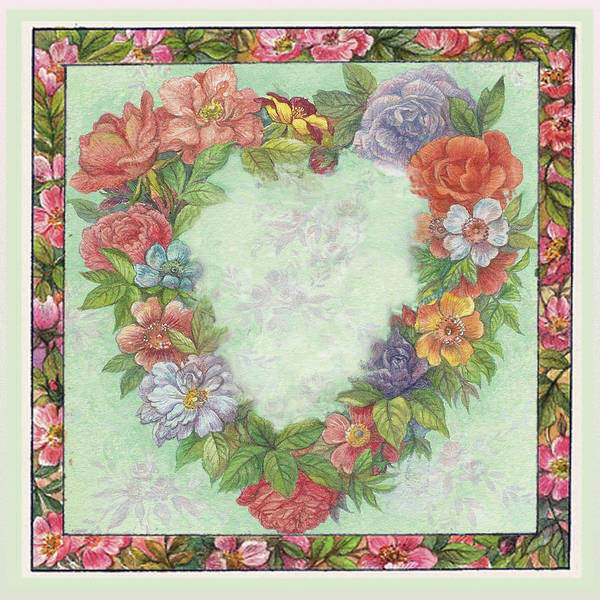 Painting - Illustrated Heart Wreath by Judith Cheng