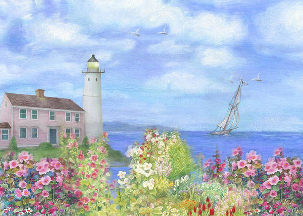 Painting - Illustrated Lighthouse By Summer Garden by Judith Cheng