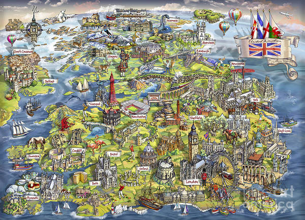 Brighton Painting - Illustrated Map Of The United Kingdom by Maria Rabinky